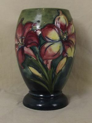 Moorcroft African Lily Pattern Pottery Vase - Signed - Late Queen Mary Label