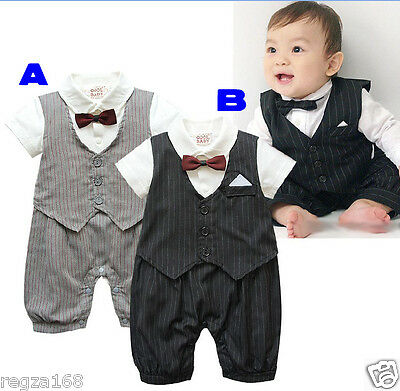 Baby Boy Tuxedo Bow Tie Bodysuit Christening Wedding Birthday Outfit 3-18 months