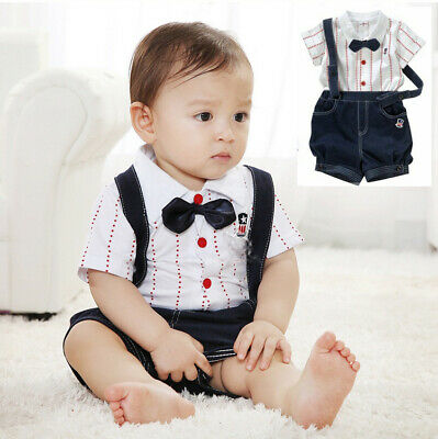 Baby Boy Bow Tie Waistcoat Bodysuit Outfit Christening Wedding Party Birthday