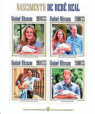 Guinea-Bissau 2013 MNH Prince George Royal Baby Birth 4v M/S William Kate