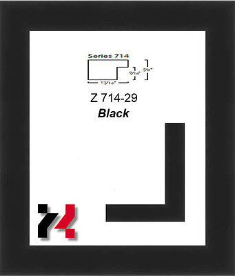 """Picture Frame Black 1 5/8"""" Wide Solid Wood Different Sizes to choice from L O-O"""