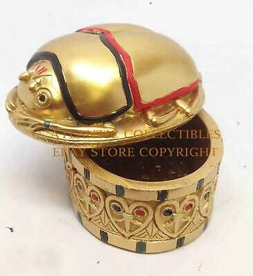 Egyptian Mythology Small Golden Scarab Jewelry Trinket Box Collection Statue