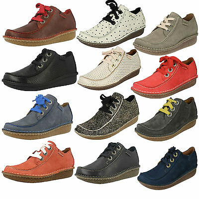 Ladies Clarks Lace Up Leather Casual Flat Moccasin Style Shoes Funny Dream