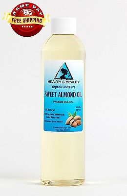 SWEET ALMOND OIL ORGANIC by H&B Oils Center COLD PRESSED PREMIUM 100% PURE 8 OZ