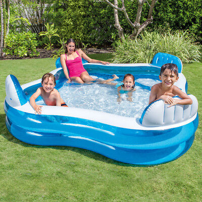 INTEX Swim Center Lounge Family Swimming Pool mit Getränkehalter Blau