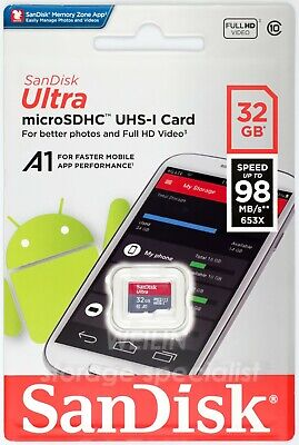 SANDISK Ultra 32 GB 98MB micro SD SDHC MEMORY Card 32G Extreme class 10 UHS A1