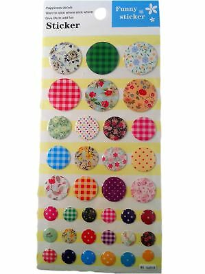 Buttons 3D Sticker Sewing Craft Card Making / Gift Wrapping / Scrapbooking