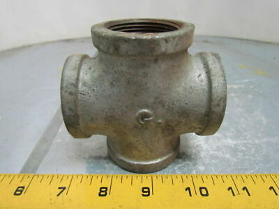 "Grinnell 1-1/4""NPT Malleable Iron Galvanized Pipe Cross Class 150 USA"