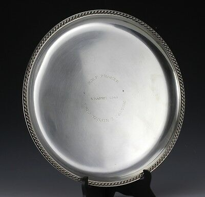 Large Sterling Silver Serving Tray Swedish Hallmarks c1940. Rope detailed rim