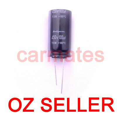 Capacitor 100uf 450V 105°C for HP TV LCD Monitor Screen Repair Rubycon 18X35mm