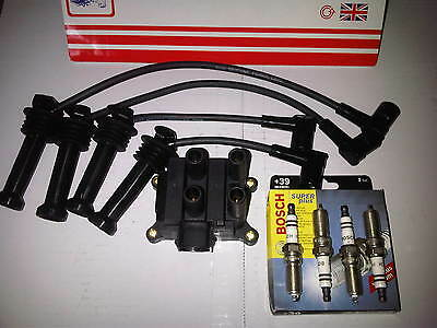 FORD FIESTA MK5 MK6 1.25 1.4 16valve IGNITION LEADS + COIL PACK & SPARK PLUGS