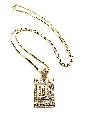 """New Iced Out DREAM CHASERS Pendant &2mm/30"""" Box Chain Hip Hop Necklace XZ91BX"""