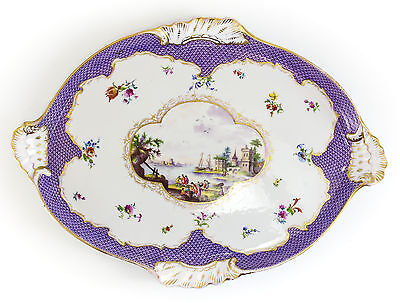 Meissen Porcelain Tray - Central hand painted landscape with water feature, Gilt