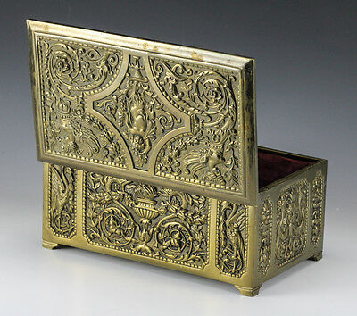 Belgian Bronze Footed Box with raised dimensional design on all sides Early 20th