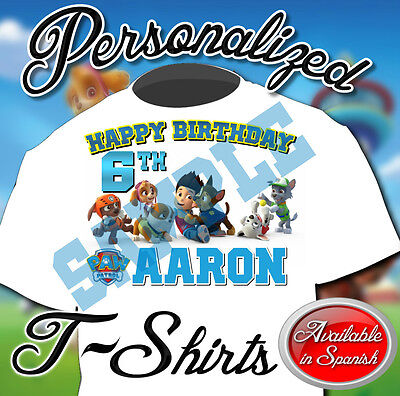 New Custom Personalized Paw Patrol Birthday White T Shirt Party Favor Add Name