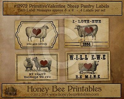 Primitive Valentine Sheep Ewe Pantry Labels 4 Crocks Jars Canisters 12972