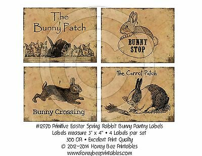 Prim Grungy Peter Cottontail Rabbit Pantry Labels 4 Crocks Jars Canisters 12970
