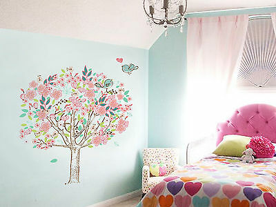 Wall Stickers Mural Decal Paper Art Decoration Cherry Blossom Bird Tree Lovely