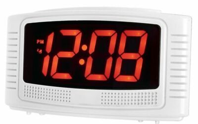 Acctim Vian Red 3cm LED Display Mains Powered Alarm Clock with*Battery Backup