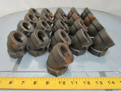 "Grinnell 1""NPT Cast Iron Black Pipe 45deg Elbow Class 125 USA Lot of 21"