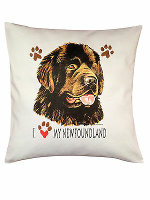 Newfoundland Chocolate Heart Breed of Dog Cotton Cushion Cover - Perfect Gift