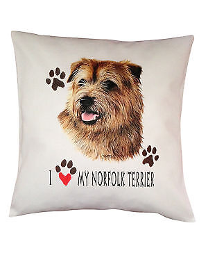 Norfolk Terrier Heart Breed of Dog Cotton Cushion Cover - Perfect Gift