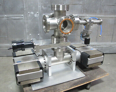 "6"" 6 port Cross Stainless Steel Vacuum Chamber 2 Ion Pumps Gate Valve 4"""