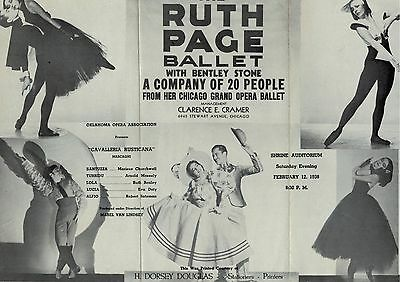 1938 Ruth Page Chicago Grand Opera Ballet Brochure Shrine Auditorium Oklahoma