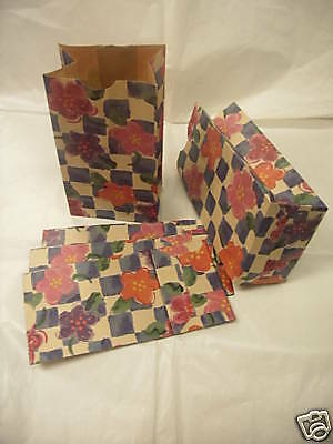 """Lot 100 Paper Merchandise Gift Jewelry Treat Party Bag Floral Flower 2.5""""x4""""x8"""""""