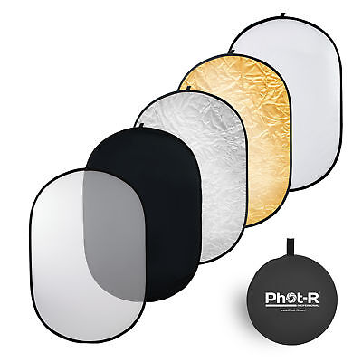"Phot-R 90x120cm (35""x47"") 5 in 1 Photo Studio Collapsible Light Reflector + Case"
