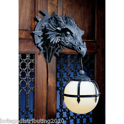 Fierce dragon head wall lamp wall sconce lighted lantern statue - Guarding dragon accent table ...