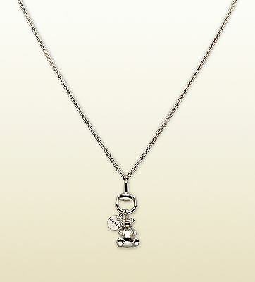 New Authentic Gucci Sterling Silver Necklace w/Teddy Bear Pendant w/Box 272001