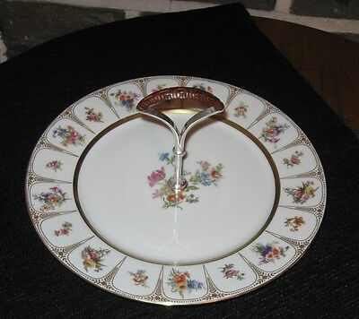Viintage limoges serving dish Silver plated handle plus all hand painted wow