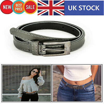 Women Ladies Girls Belt Stylish Thin Skinny in Grey Buckle Fashion Waistband