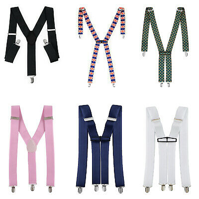 GENTS MENS 35mm WIDE ADJUSTABLE BRACES SUSPENDERS ELASTIC PLAIN COLOURS CLASSIC