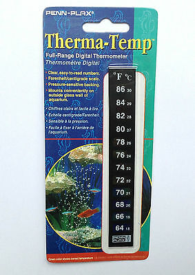 PENN - PLAX FULL RANGE DIGITAL THERMOMETER, Mount on the outside of the Aquarium