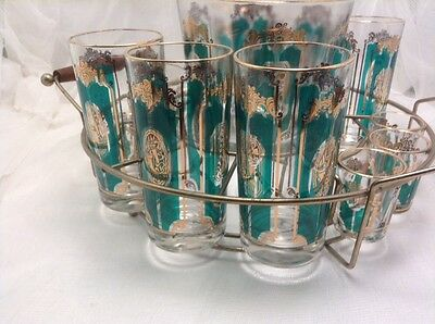 Mid-Century Culver Jeanette Tumblers Shot Glasses Ice Bucket Carrier gold /green