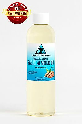 SWEET ALMOND OIL ORGANIC by H&B Oils Center COLD PRESSED PREMIUM 100% PURE 4 OZ