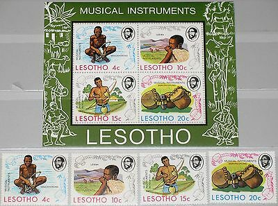 LESOTHO 1975 174-7 Block 1 174-7a Musical Instruments Musikinstrumente Music MNH