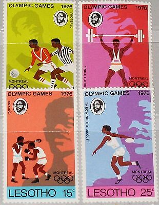 LESOTHO 1976 209-12 Olympics Montreal Games Soccer Boxing Discus Sport MNH
