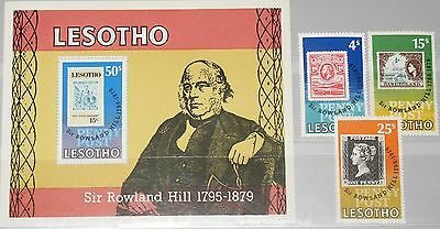 LESOTHO 1979 274-76 Block 3 274-77 Sir Rowland Hill Stamp on Stamp MNH