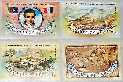 LESOTHO 1983 429-32 408-11 150th Ann Arrival French Missionaries Religion MNH