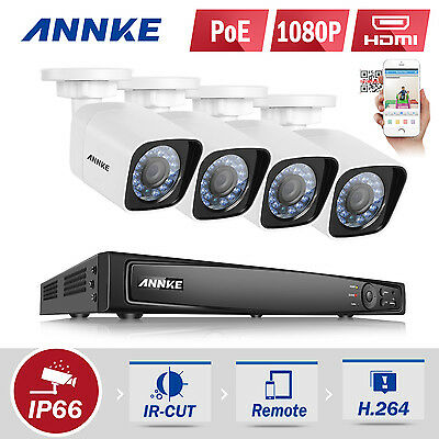 ANNKE 1080P POE 4CH 6MP NVR Network WDR 2MP Video Outdoor Security Camera System
