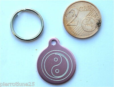 MEDAILLE GRAVEE RONDE ROSE ying yang CHATON CHAT collier medalla cane hund