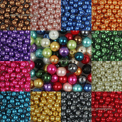 Wholesale Pretty Glass Pearl Round Spacer Loose Beads 4mm 6mm 8mm 10mm 12mm SL47