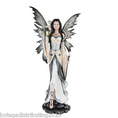 "Large 26"" H Dark Fairy Statue With White Dragon Figurine Snow Owl Faerie"