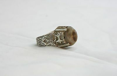 TURKOMAN CAT EYE AGATE .925 STERLING SILVER FOR GOOD LUCK RING - SIZE 8 US # 02
