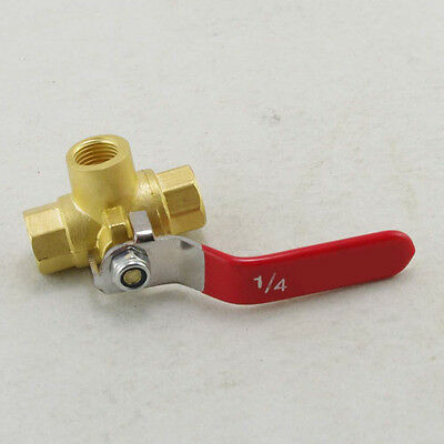 1 4 npt 3 way mini brass ball valve 500 psi l port for fuel oil female full ports brass ball valve three way 1 4 in bspp connection