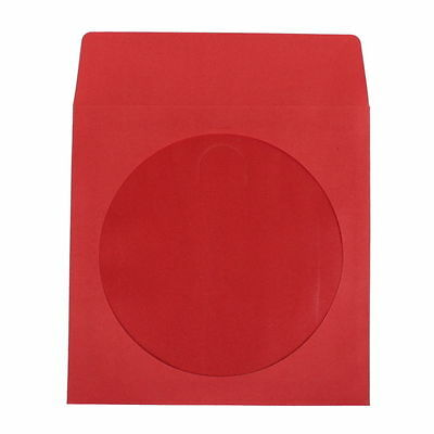 2000 count RED CD DVD R Paper Sleeves 100g with Clear Window and Flap