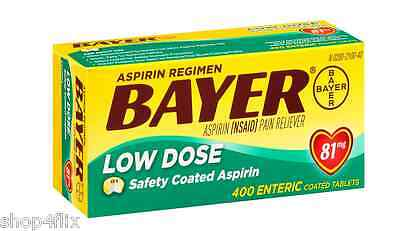 BAYER (NSAID) Pain Reliever Low Dose Aspirin 81mg 400 Enteric Coated Tablets